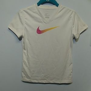 Nike Dri-Fit Work Out White V Neck T-shirt